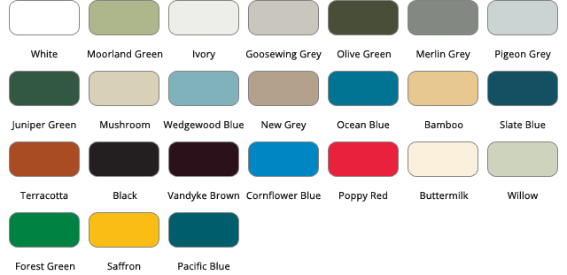 steel buildings glasgow colour chart